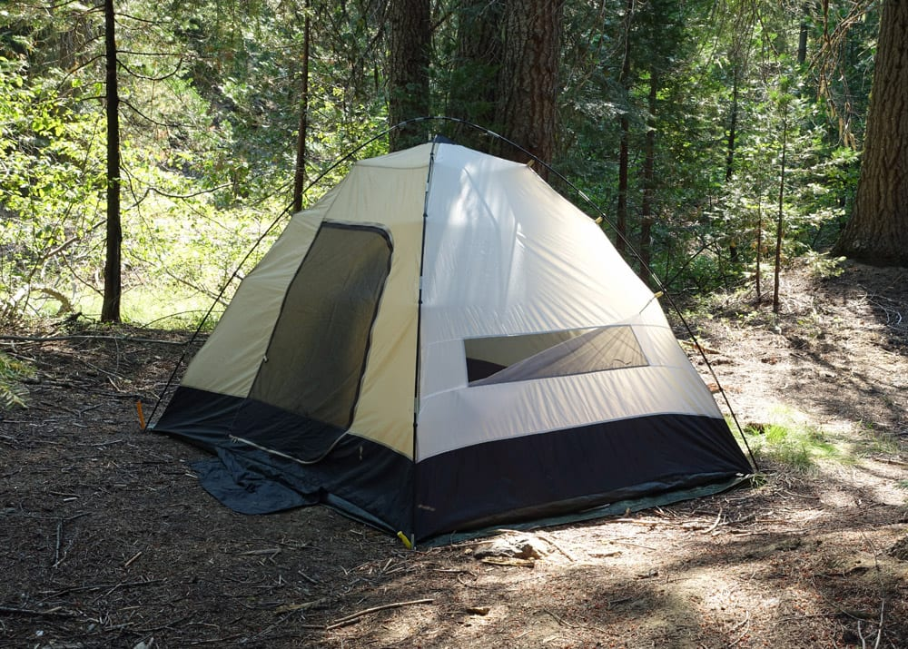 Dispersed camping campsite on Shasta-Trinity National Forest -- back when we used the Subaru Outback and slept in a tent